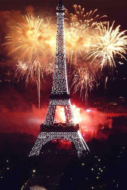 Paris Eiffel Tower fireworks. Background for iPhone