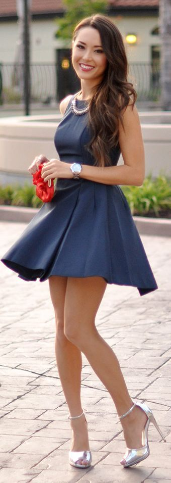 Daily Look Navy High Neck Fit And Flare Box Pleated Skater Dress                                                                             Source