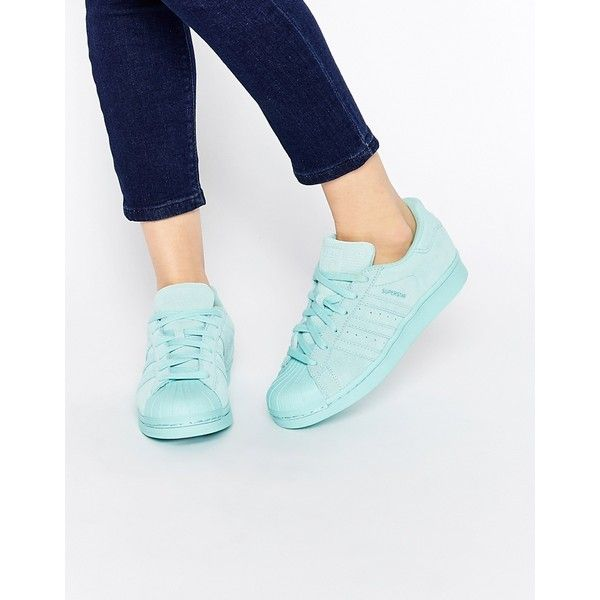 adidas Originals Superstar RP Tonal Aqua Sneakers (318.750 COP) ❤ liked on Polyvore featuring shoes, sneakers, tonal aqua, adidas footwear, adidas shoes, aqua sneakers, genuine leather shoes and leather sneakers