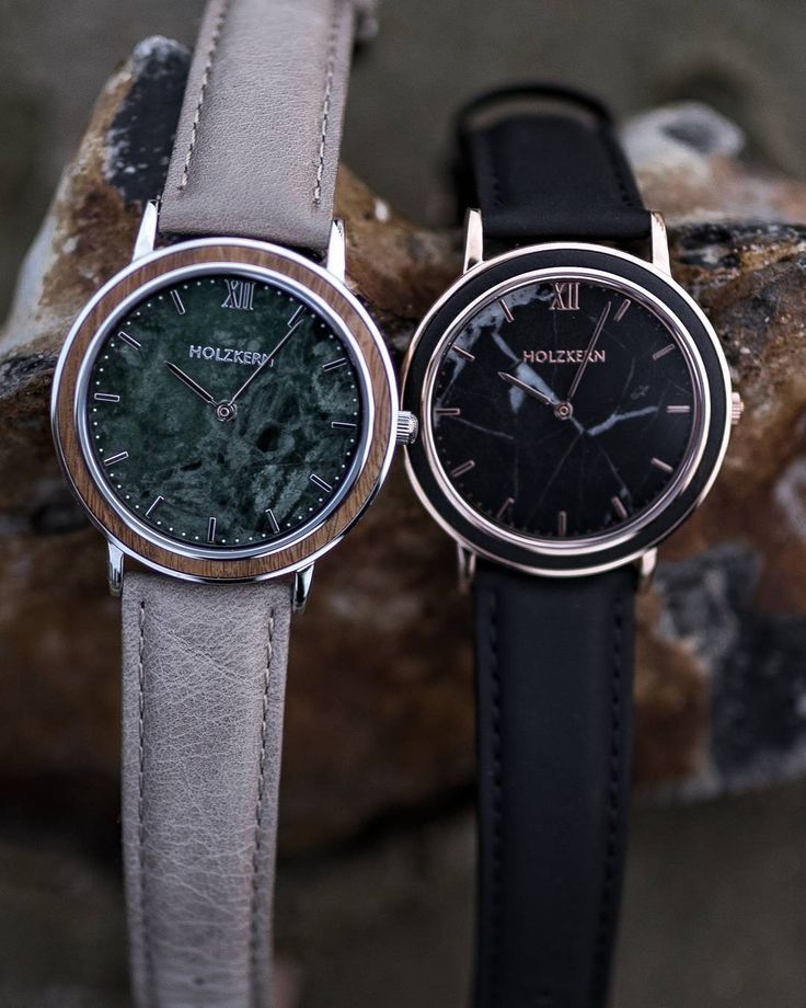 Green or black marble - which one do you like better?  . . Find our watches Stanley Park and Ueno Park on www.holzkern.com