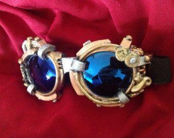 Lentille bleu Steampunk lunettes