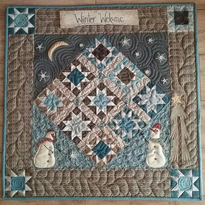 """Frosty Winter Quilt. 28"""" x 28"""". Own design."""