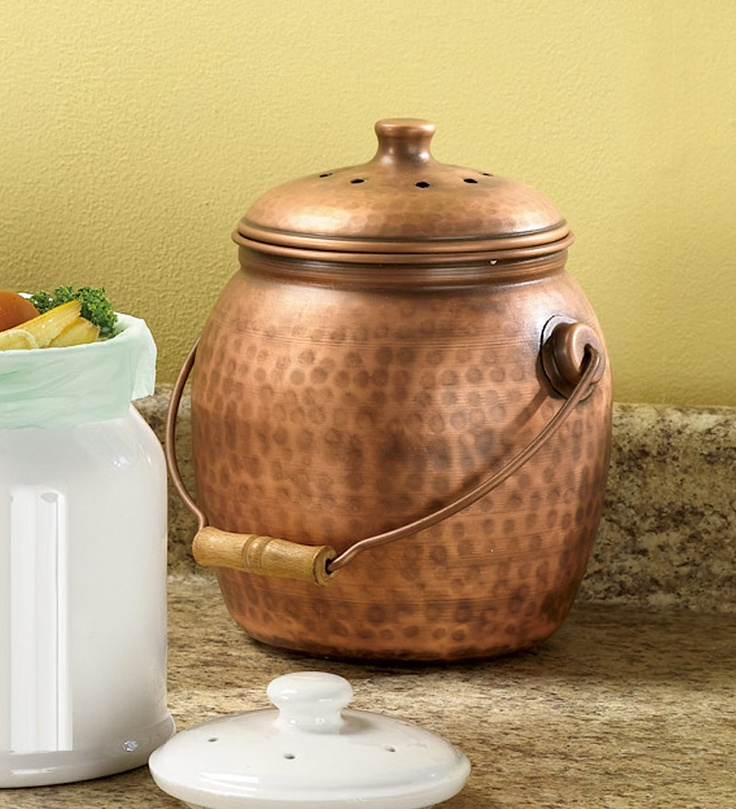 Copper Compost Pail, Even Has Charcoal Filters And Compostable Bags.