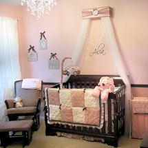 Little princess baby nursery theme decor with custom made personalized crib crown monogrammed with girl initials or name