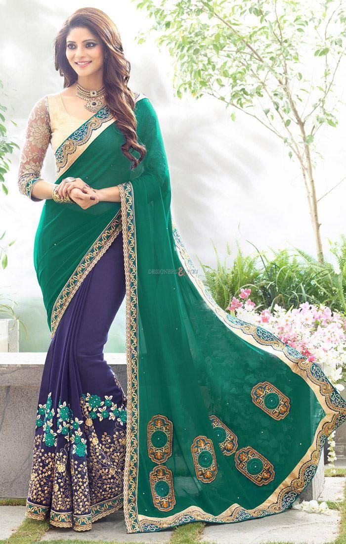 traditional half saree jacket style looking full sleeve blouse designs