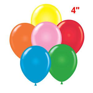 """4"""" STANDARD ASSORTED COLOR BALLOONS - SUPER LOW PRICES. Perfect for party decorations or carnival dart balloons. (144 pieces per unit)"""