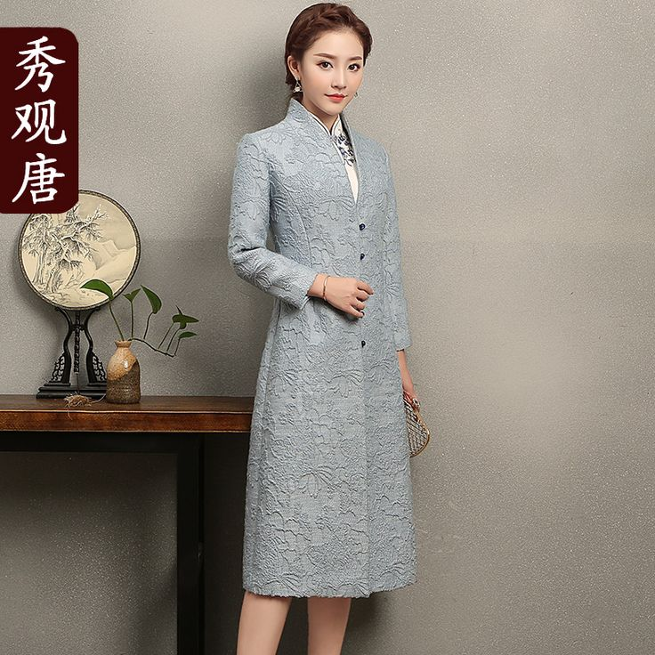 Pretty Wool Blend Frog Button High Collar V-neck Coat - Chinese Jackets & Coats - Women