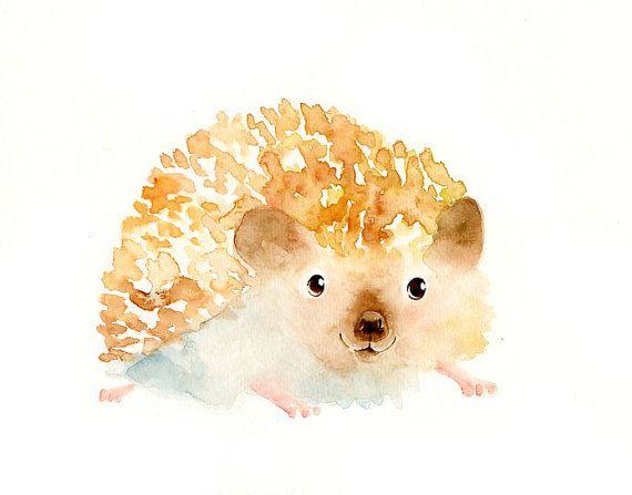 HEDGEHOG by DIMDI Original watercolor painting 10X8inch by dimdi
