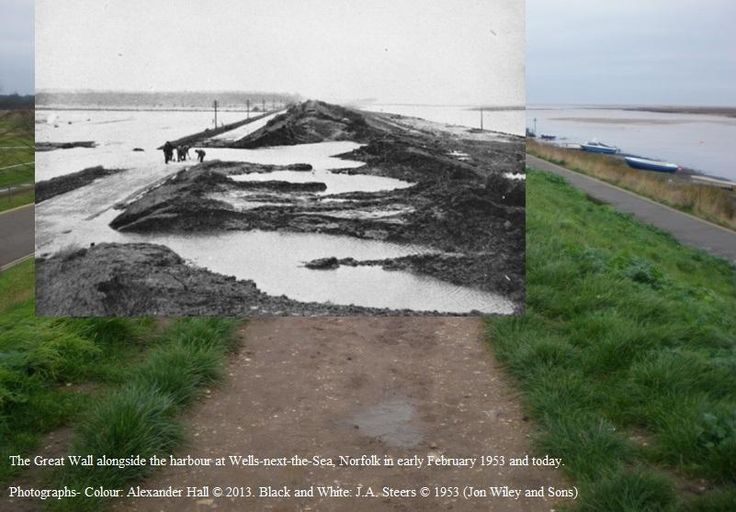 Then and now - the great wall at Wells-next-the-Sea harbour. Today vs 1953.