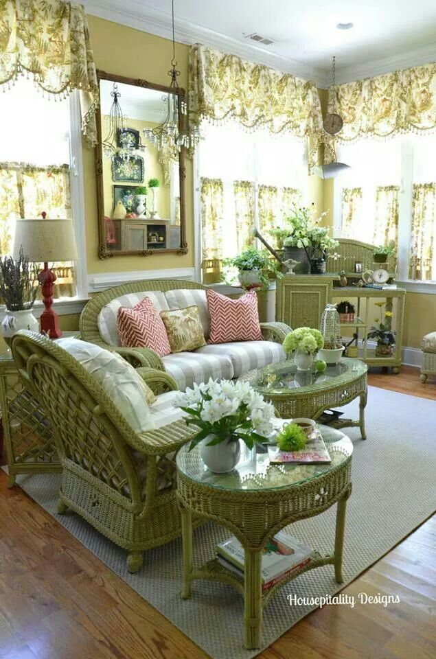 Colors ~ Pear Green ~ gorgeous sun room with green wicker