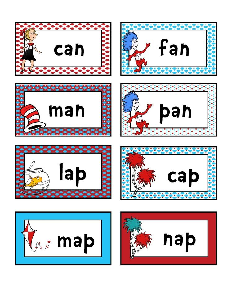 Preschool Printables: Rhyming and matching, reading game. Dr. Seuss theme