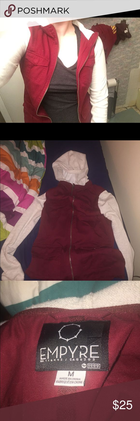 Red and white zip up jacket Red and white zip up cotton jacket with pockets. I bought it from tillys, only wore it a couple of times and has been sitting in my closet ever since. Perfect condition..originally bought for about 40-50 dollars. Empyre Jackets & Coats