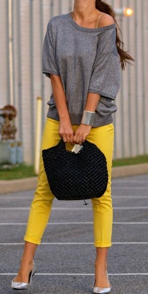 I just bought yellow jeans and was wondering what to pair it with
