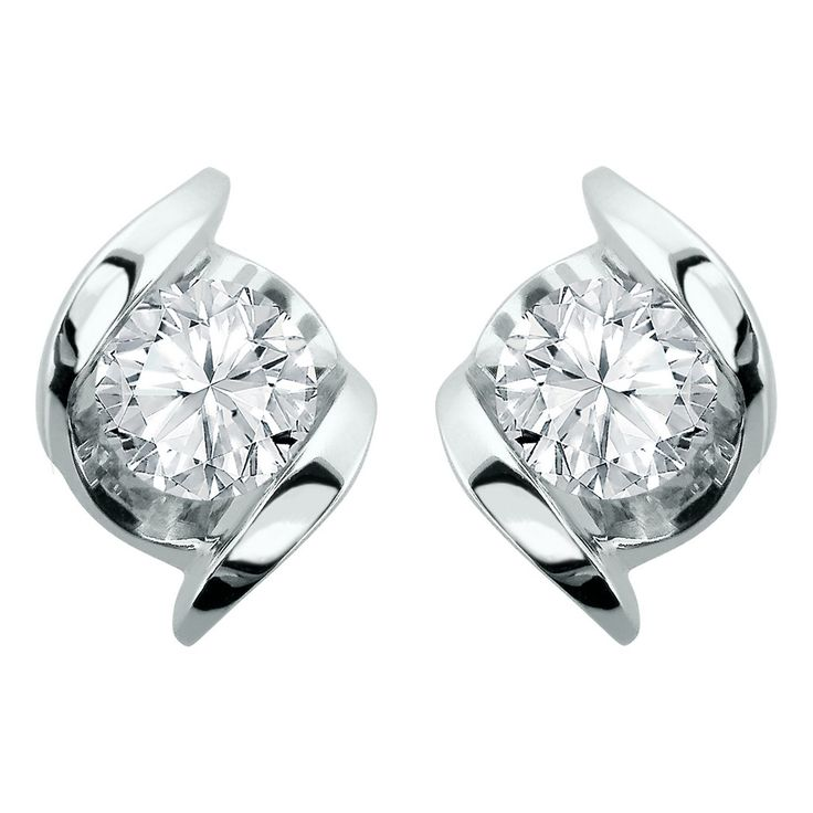 Sirena 14k White Gold 1 5 Carat Total Weight Diamond Solitaire Stud Earrings
