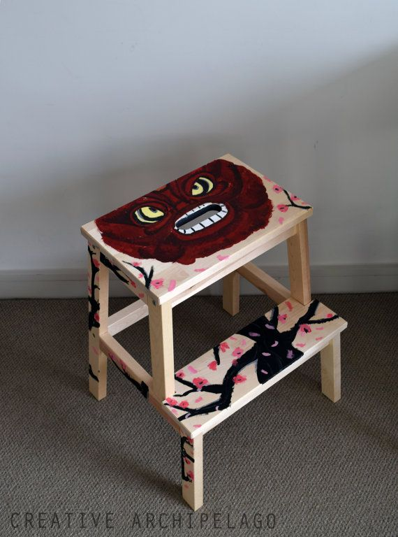 Hand painted step-stool / night-stand by CreativeArchipelago