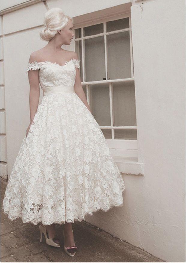 50's length taffeta dress with buckle belt | LouLou Bridal