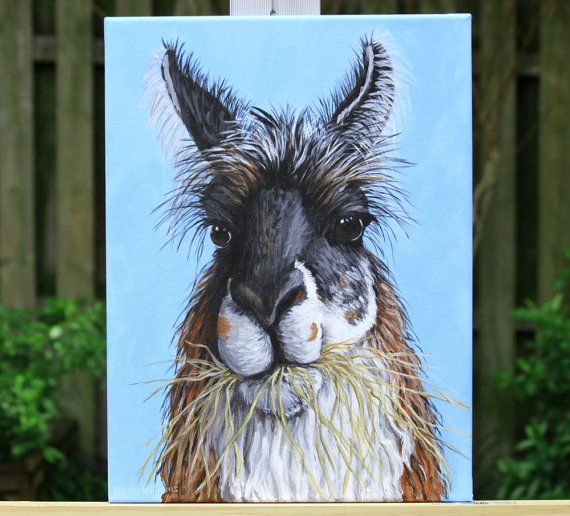 Llama Portrait - Llama Face Painting - Cute Funny Animal Art - 12x16 Original Acrylic Painting