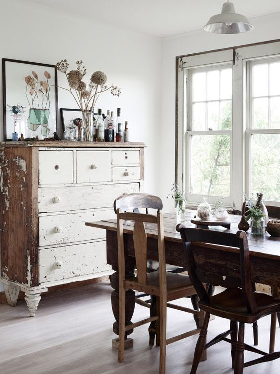"""magicalhomestead:  """" The Gippsland Farmhouse. Love the big table, mismatched chairs, and the unexpected chest of drawers as a dining room piece.  Decoholic  """""""