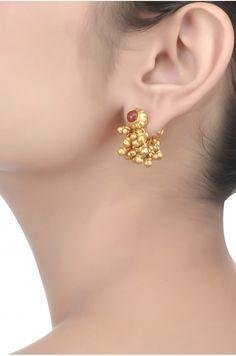 Silver Red Onyx & Ghungroo Earrings
