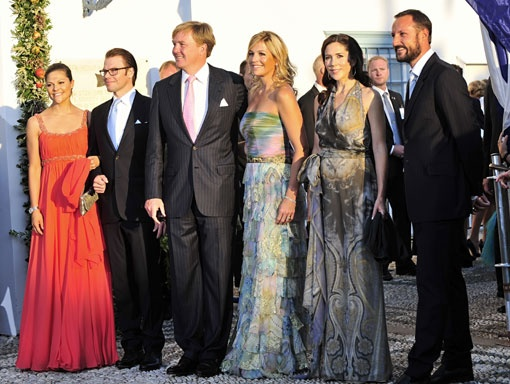 From left, Crown Princess Victoria of Sweden and Prince Daniel, Prince Willem-Alexander and Princess Maxima of Netherlands and Crown Princess Mette-Marit and Crown Prince Haakon of Norway arrive for the wedding of Prince Nikolaos of Greece to Tatiana Blatnik in Spetses, Greece, on Aug. 25, 2010.