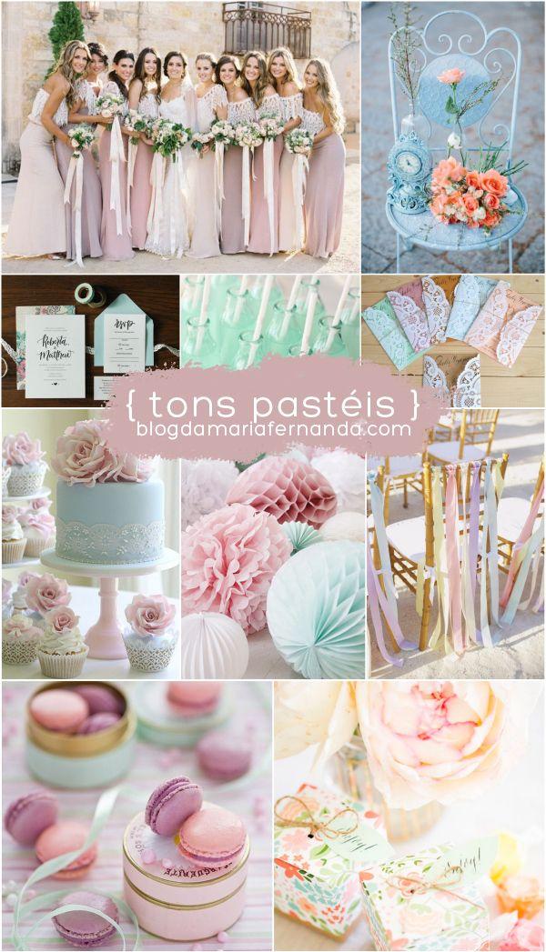 Decoração de Casamento Paleta de Cores Tons Pastéis | Inspiration Board Wedding Color Palette Pastel |  http://blogdamariafernanda.com/decoracao-de-casamento-paleta-de-cores-tons-pasteis