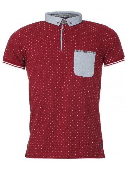 Burgundy Polka Dot Print Polo Shirt