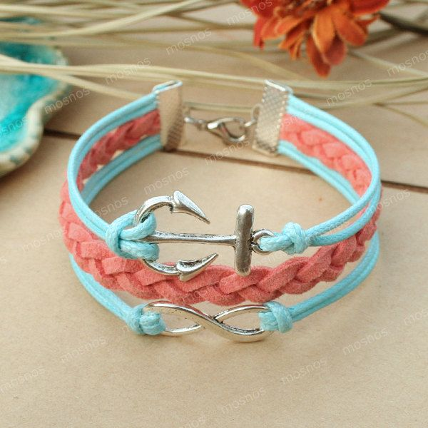 LOVE!! Anchor bracelet- turquoise infinity bracelet with anchor for friends, gift for girlfriend. $7.99, via Etsy.