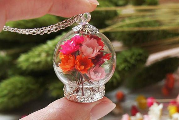 Bouquet necklace Real Flower necklace Garden necklace