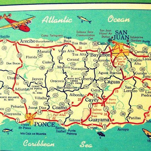 vintage map PUERTO RICO