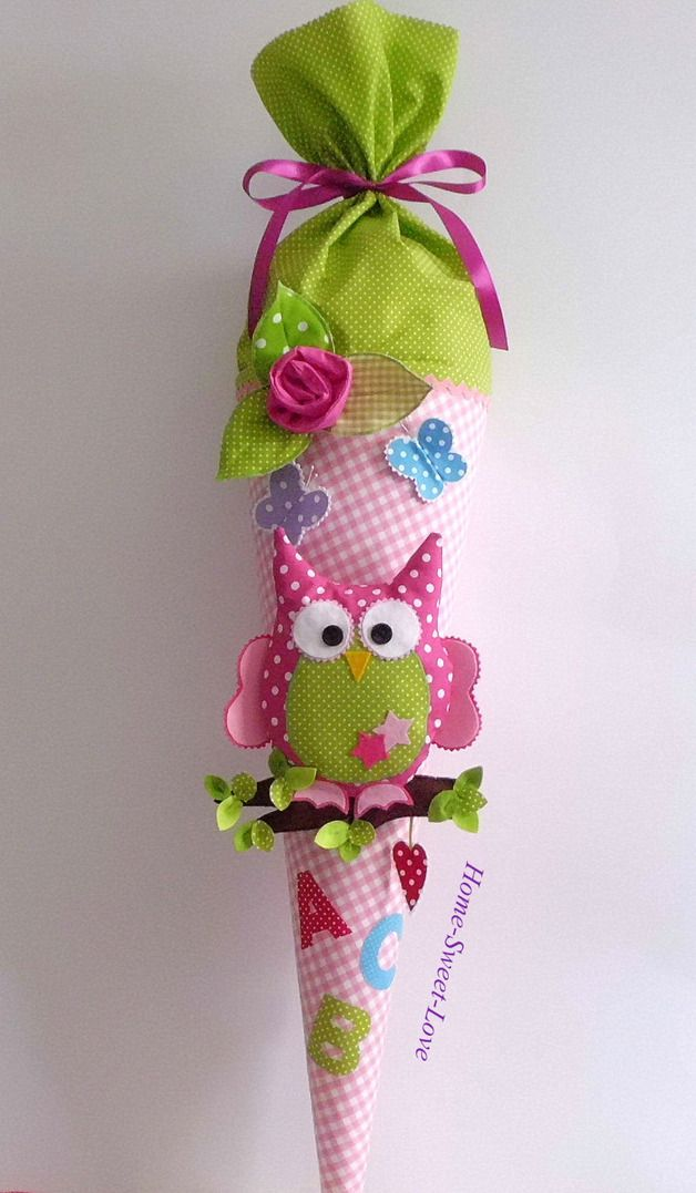 Schultüte für Mädchen, Schulutensilien / school cone for girls made by Home-sweet-love via DaWanda.com