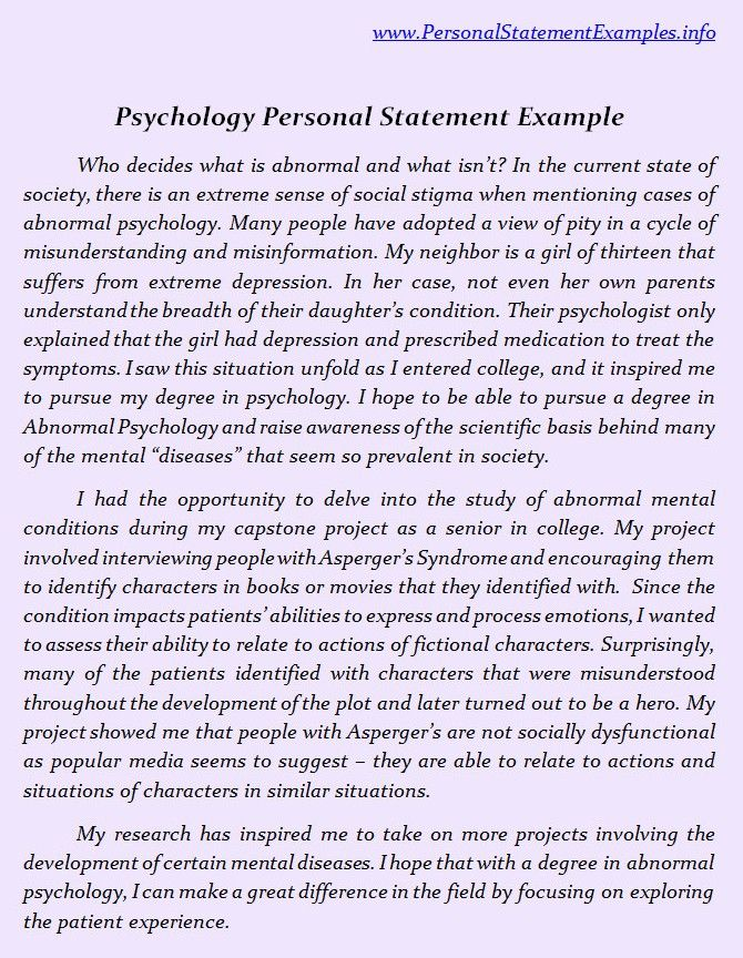 personal essay for psychology Organizing your personal statement: an outline to get you started by merry j sleigh, phd field of psychology and would like to obtain a graduate degree.