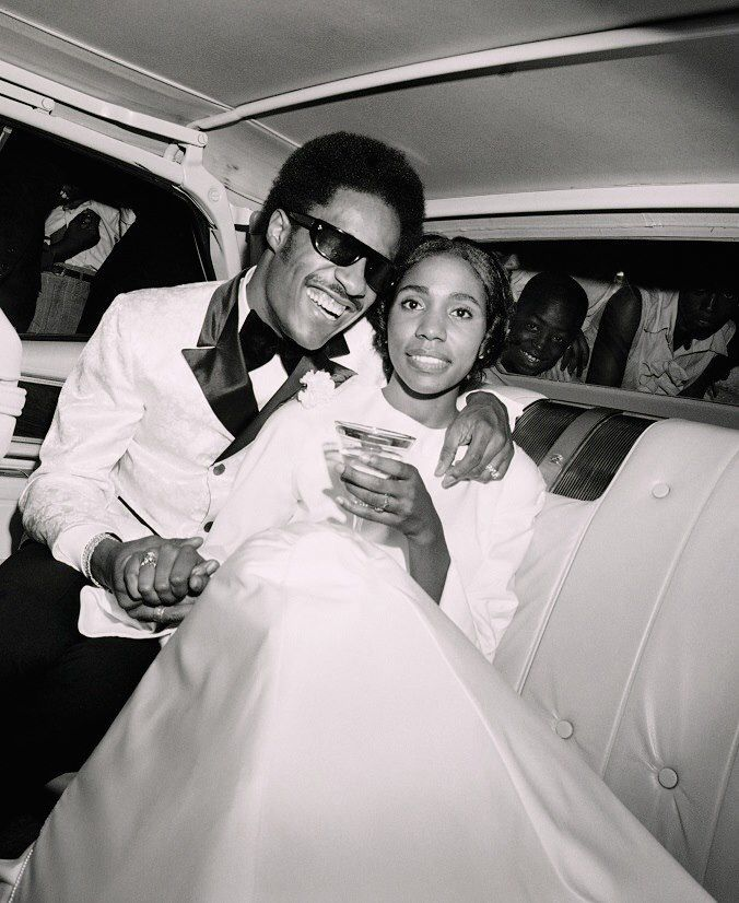 Vintage Black Glamour photo of Stevie Wonder with first wife, Syreeta Wright, singer and songwriter.