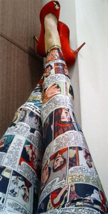 Comic book leggings! Cool! These would match my comic book Avengers shirt. The leggings would go under a skirt of course, because I hate when people wear leggings as pants.