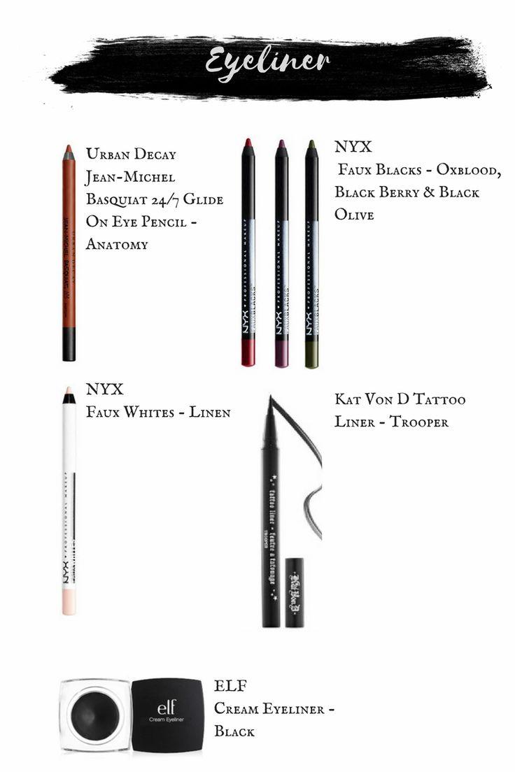Nyx Faux Blacks.  Nyx Faux Whites.  Kat Von D Tattoo Liner.  ELF Cream Eyeliner.