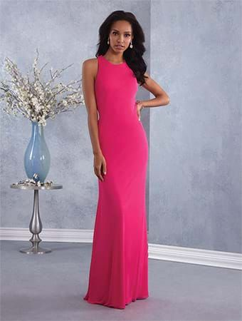 Alfred Angelo Style 7425: floor length power mesh bridesmaid dress with halter neckline and twisted back straps