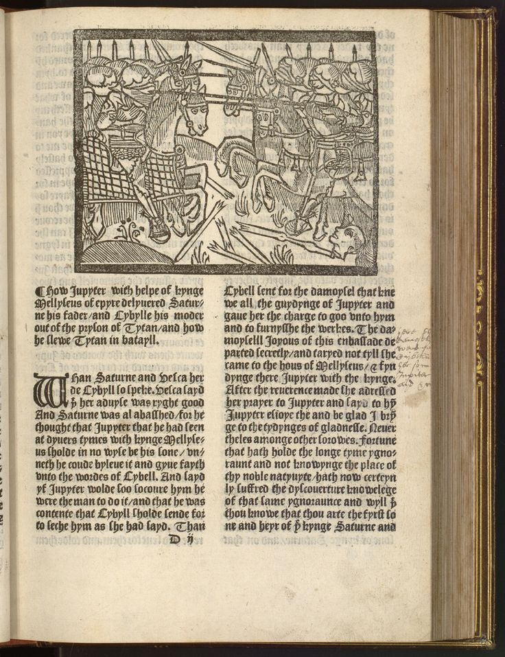 The recuyles or gaderige to gyder of ye hystoryes of Troye, how it was destroyed brent twyes by ye puyssaunt Hercules ye thyrde generall by ye Grekes [tr. out of Frenshe in to Englysshe by Wyllyam Caxton], 1474. Library of Congress