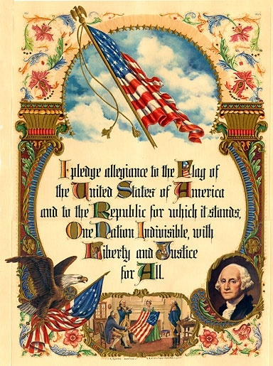 "The original Pledge of Allegiance, without ""under God,"" as seen in this 20th Century print"