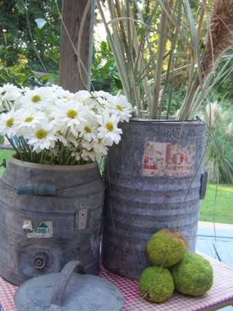 Old galvanized finds.  Use them for decorating your patio, deck, or porch.