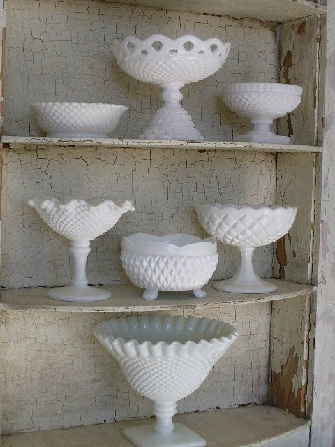 milk glass footed bowls