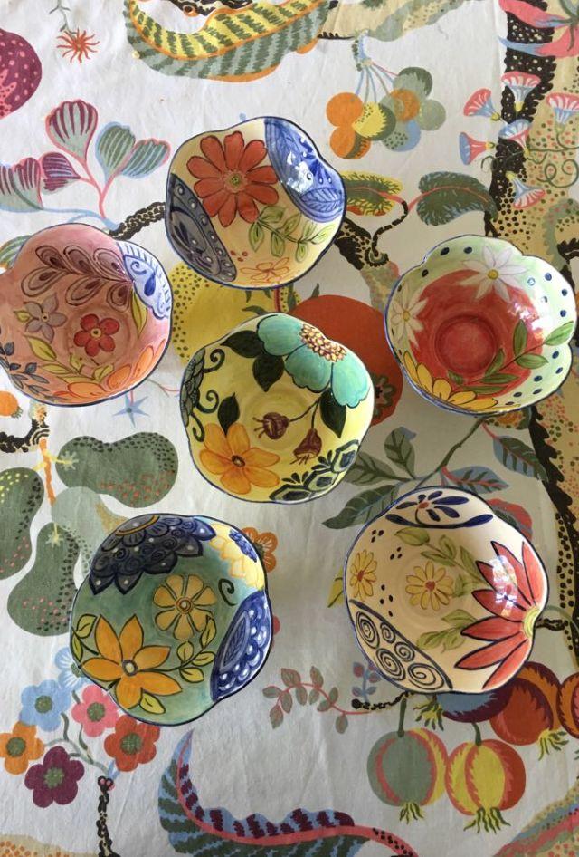 Bowls para ensalada, pintados a mano bajo cubierta, por Gladys