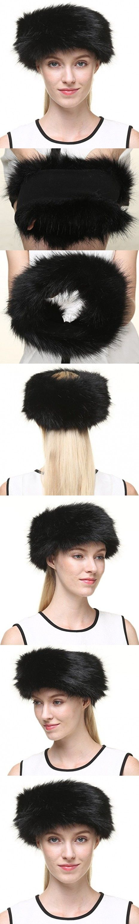Vogueearth Women's Winter Earwarmer Earmuff Ski Hat Headband Faux-Fox Fur Black