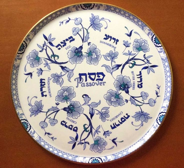 "Unique Royal Grafton Fine Bone China Passover Seder Plate with 6 Matching Plates. 12.5"" in diameter."