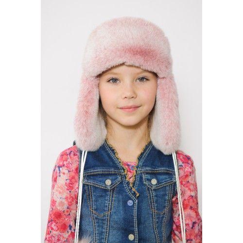 Детская шапка ушанка рекс и кожа