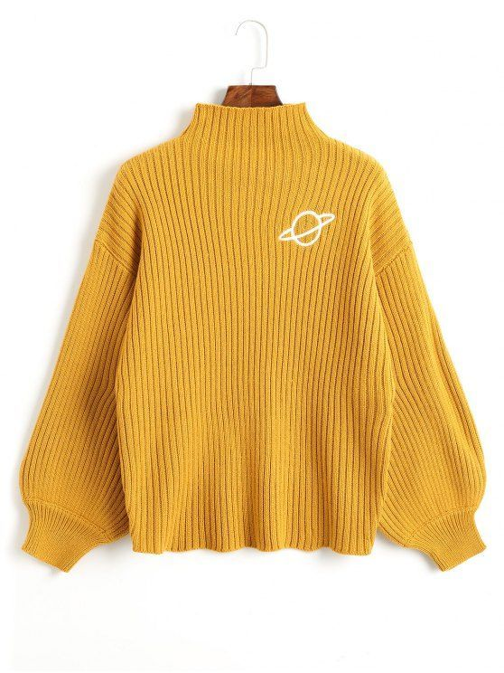 6088c2b91 Up to 80% OFF! Mock Neck Planet Embroidered Sweater.  Zaful  sweater ...