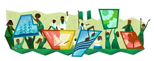 Nigeria Independence Day 2016  Date: October 1 2016  This year on National Day Nigeria celebrates 56 years of independence. Annual celebrations usually start with the Presidents speech and continue with patriotic parades and festivities. In Nigeria and all over the world people host parties festooned with green and white flags play games and enjoy traditional home-cooked foods.  Todays Doodle showcases sectors that Nigeria is developing and takes great pride in such as agriculture science…