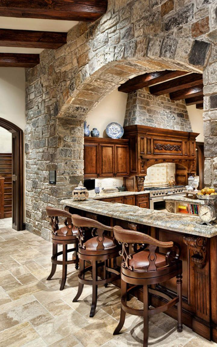 Kitchen With Table Island Rustic Kitchen #1 | Log Cabin Ideas | Home, Stone Kitchen