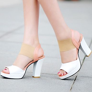 Women's Shoes Heel Heels / Peep Toe / Platform Sandals / Heels Outdoor /  Dress / Casual Blue / Red / Almond