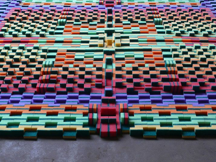 Sponge carpet. Dutch art collective Marcia Nolte, Stijn van der Vleuten and Bob Waardenburg.