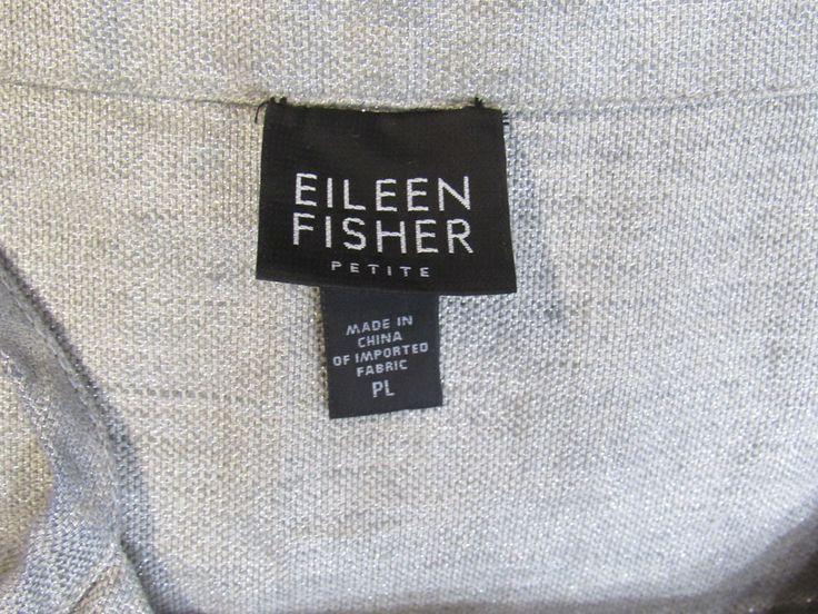EILEEN FISHER Dress Petite Large Silver Metallic Linen Slip Cami style Knee Leng #EileenFisher #CamiSlipDress #Cocktail