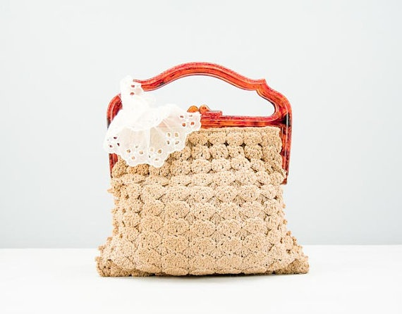 Vintage crochet bag Great handle!